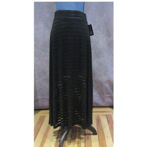 NEW INC Black Illusion Maxi Skirt Size M